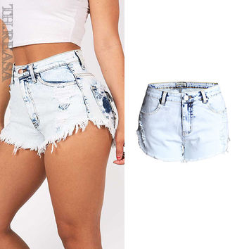 Fashion Ripped Holes High Waist Denim Plus Size Jeans [11597533583]