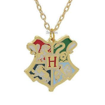 Licensed cool NEW Harry Potter Deathly Hallows Hogwarts School CREST Pendant Necklace 18 Chain