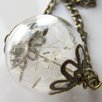 Dandelion Seeds Necklace, Glass Orb, Handblown Bead, Eco Friendly
