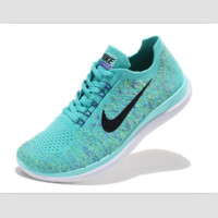 NIKE casual lightweight knitted running shoes Light green black