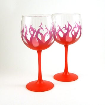 Wine Glasses - Tribal Flames - Pair - Purple and Red with Copper Flake - Custom Painted Glassware
