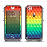The Rainbow Thin Lined Chevron Pattern Apple iPhone 5c LifeProof Nuud Case Skin Set
