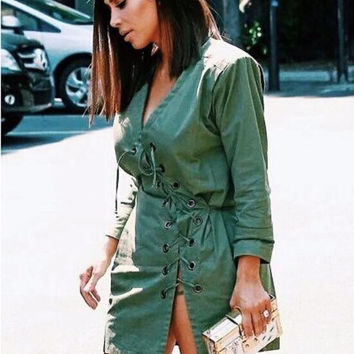 Green V-Neck Lace Up Lock Long Sleeve Split Mini Dress