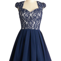 ModCloth Mid-length Cap Sleeves A-line Loganberry Beautiful Dress in Navy