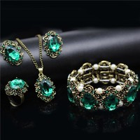 Fashion Jewelry sets bridal wedding Crystal vintage bronze plated jewelry kate princess Necklace Earrings bracelet rings 1105