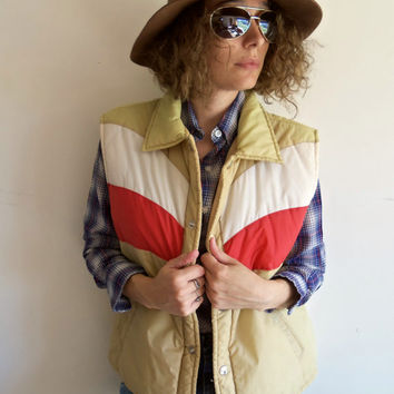 Vintage Tan Red and White 70s Puffy Vest Hipster Indie Outdoor Camping