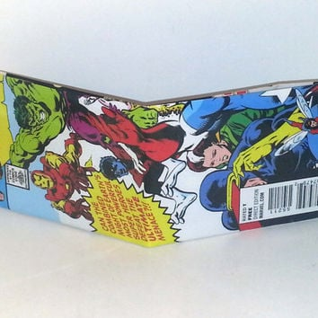 Comic Book Wallet// Secret Wars// Iron Man, Hulk, Nightcrawler, Cyclops, Rogue, and Wasp