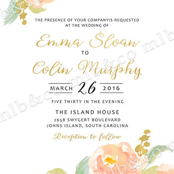 Peach and Coral Watercolor Peony Wedding Invitation - PRINTABLE