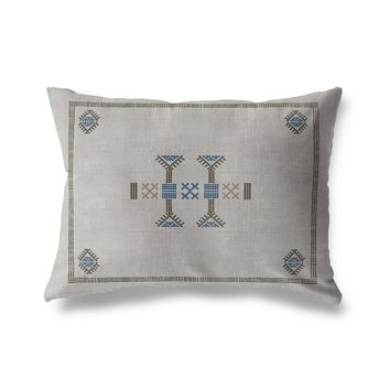 MORROCCAN KILIM GREY Lumbar Pillow By Becky Bailey