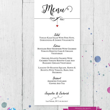 DIY Rustic Wedding Menu Template, Menu Cards, Menu Printable,  PDF Instant Download, Digital, Kraft We Do Dangling Heart #1CM83-1