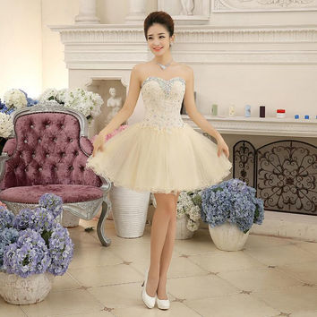 Champagne Organza Embroidery Beading Sweetheart Strapless Ball Gown Women Short Formal Gown Above Knee robe de Cocktail Dresses