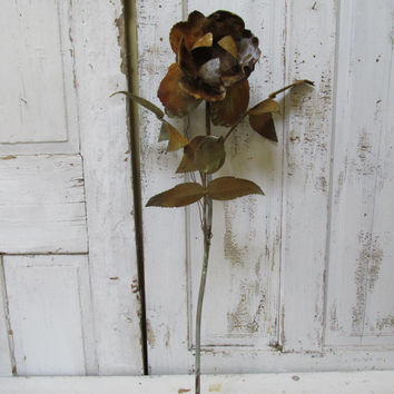 Huge metal long stemmed rose sculpture rusty painted cottage style hand cut home decor ooak anita spero