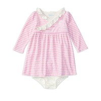 Ralph Lauren ChildrenswearInfant Girls' Striped Velour Dress & Bloomer Set - Sizes 3-12 Months