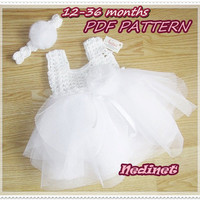 Crochet baby dress pattern, crochet tulle tutu dress 0-36 months set PATTERN, crochet top pattern