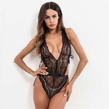 Sexy Summer Women's Fashion Lace Hollow Out One-piece [747998183540]