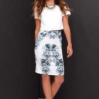 LULUS Exclusive Fifty Shades Away Ivory Floral Print Skirt