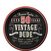 Vintage Dude 50th Birthday Dessert Plates 8ct