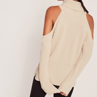 Missguided - Chunky Cold Shoulder Jumper Nude