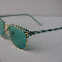 Green Clubmaster Wayfarer Gold Sunglasses A4