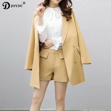 JOYDU Blazers + Shorts Set 2017 Korean Fashion Blazer Suit Lapel Long Sleeve Double Breasted Novelty Office Coat Female Jacket