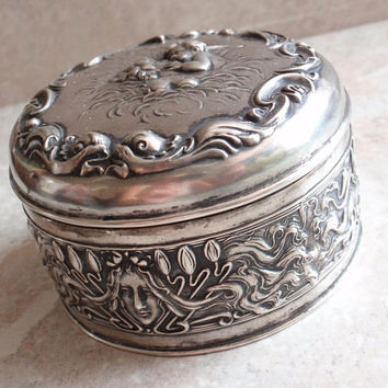 Art Nouveau Dresser Box Unger Bros Sterling Silver Hinged Repousse Love's Dream Vintage Antique 042216BKH