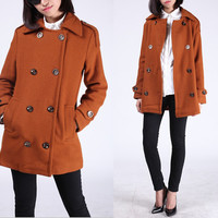Burnt Orange  Women coats OL Wool coat Cashmere winter coat Hood cloak Hoodie cape Hooded Cape/clothing /jacket/dress