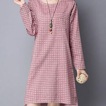 Streetstyle  Casual Round Neck Striped Cotton/Linen High-Low Shift Dress