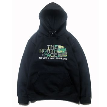 The North Face Autumn And Winter New Fashion Bust Camouflage Letter Hooded Long Sleeve Sweater Top Black