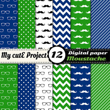Moustache and Glasses - Digital paper pack - Blue and Green  - Scrapbooking & graphic design - 12x12 - A4 - Polka dots, heart, chevron