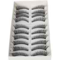 10 Pairs Black Long Thick Cross Style Reusable False Eyelashes Fake Eye Lash for Makeup Cosmetic by Nails gaga