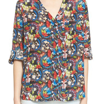 'Colby' Floral Print Silk Blouse