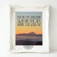 Live in the sunshine swim in the sea drink the wild air Ralph Waldo Emerson quote printable wall decor wanderlust quote typography wall art