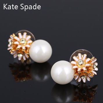 Kate Spade Fashion New Diamond Floral Pearl Personality Earring Women