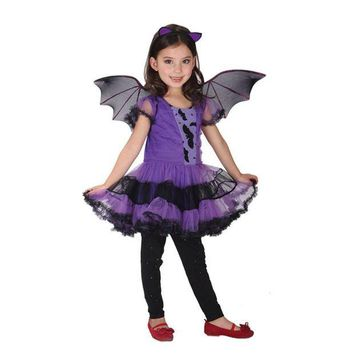 ONETOW Helloween Costumes New Baby Girls Batman Costume Dresses With Wings Spandex Purple Children Kids Cosplay Wings Batman Clot Style