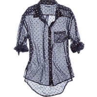 AERIE SHINE DOT BUTTON DOWN SHIRT