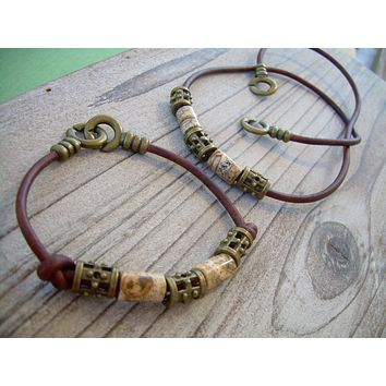 Leather and Picture Jasper Gemstone Bracelet and Necklace Set, Necklace, Bracelet, Jewelry, Leather, Gift, Gemstone, Mens, Womens