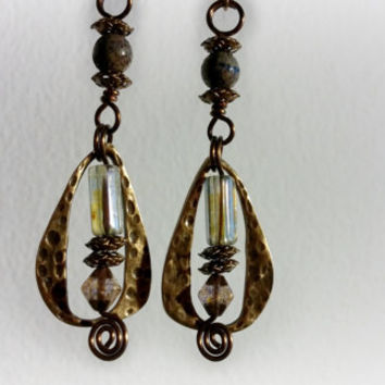 Antique Bronze Earrings, Brass Earrings, Rustic Earrings, Tear Drop Earrings, Gypsy Earrings, Boho Earrings ELEMENTS Collection
