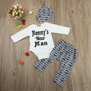 Cute 3PCS Set Newborn Baby Boy Romper Tops +Long Pants Hat Outfits Clothes 0-18M