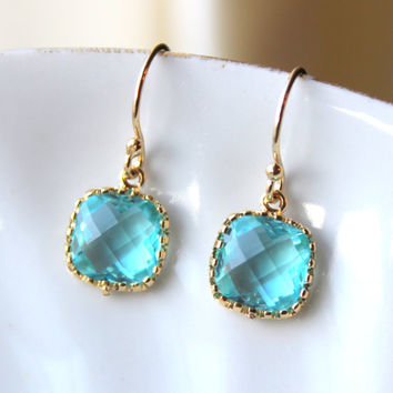 Dainty Aquamarine Topaz Blue Earrings Gold Plated - Aqua Bridesmaid Earrings - Wedding Earrings Aquamarine Wedding Jewelry - Bridal Earrings
