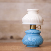 AVON Blue and White Courting Lamp Bottle - Glass - Hana Gasa - Empty