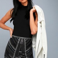 Deluxe Love Black Sequin Mini Skirt