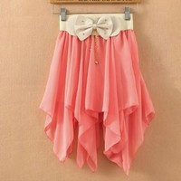 Irregular Pleated Bow Chiffon Skirts (red)
