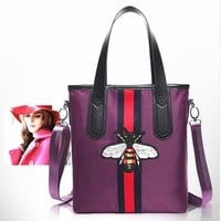 Day-First™ GUCCI Embroidered little bee stitching hit color shoulder large capacity female bag