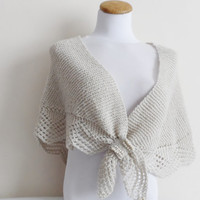 Plus Size, Wedding Shawl, Wedding Bolero,Shrug ,Hand Knit Beige Shawl ...