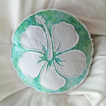 Hibiscus flower pillow seafoam green batik and distressed bright white denim