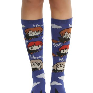 Harry Potter Flying Chibi Trio Knee-High Socks