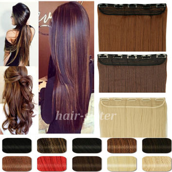 "Long 26"" Straight 68CM 100% Real Thick 170g 3/4 Full Head Clip in on Hair Extensions 2015 FAHION NEW MULTI-COLORS"