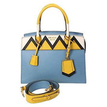 Prada Blue Leather Tote Bag With Shoulder Strap 1ba046 Astral+soleil