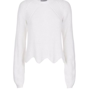 Cream Scallop Hem Jumper | New Look