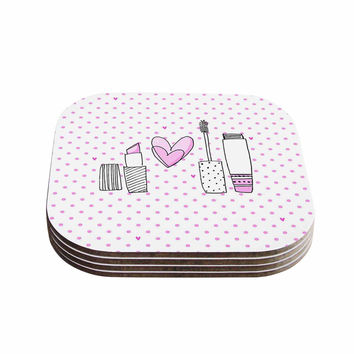 "MaJoBV ""Girls Luv"" Pink Makeup Coasters (Set of 4)"